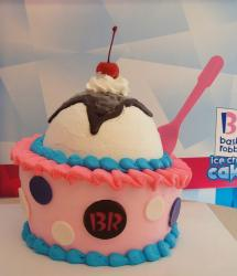 Baskin Robbins pink ice cream birthday cake with vanilla and cherry and chocolate syrup on top.JPG