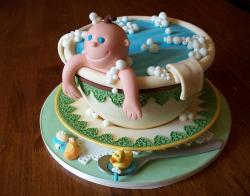 Cute baby in a cup baby shower cake.JPG