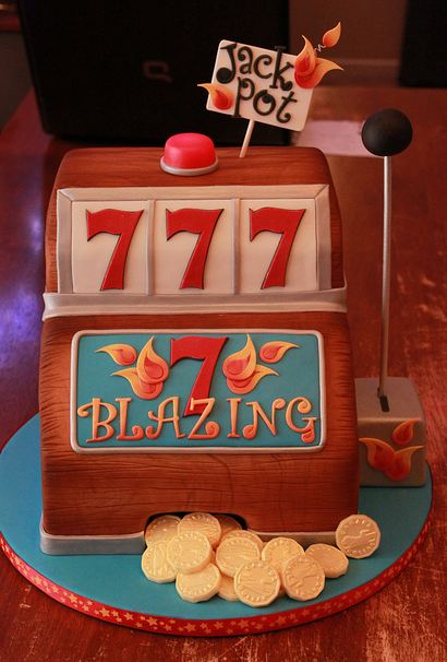 Jack pot slot machine birthday cake with coins.JPG
