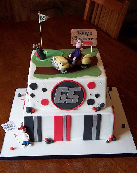 Brilliant Two Tier White Golf Theme 65Th Birthday Cake Jpg Personalised Birthday Cards Veneteletsinfo