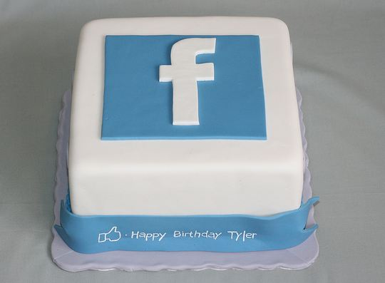 Facebook Symbol Square White Birthday Cake Jpg 2 Comments