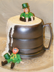 St. Patrick's Day party cake with beer mug and drunk men.PNG