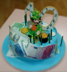 Irish cake with leprechaun cake with gold and money for cake decor.PNG