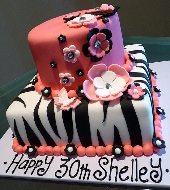 Two Tier Zebra Stripe And Pink 30th Birthday Cake For A WomanJPG