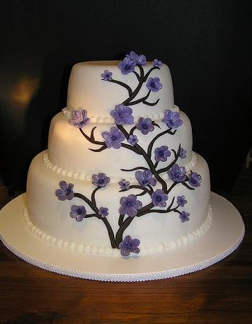 3 tier wedding cake with purple roses 3 tier white wedding cake with tree with purple 10348