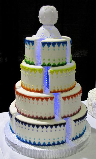 Four Tier Round White Wedding Cake With Blue Led Lighting
