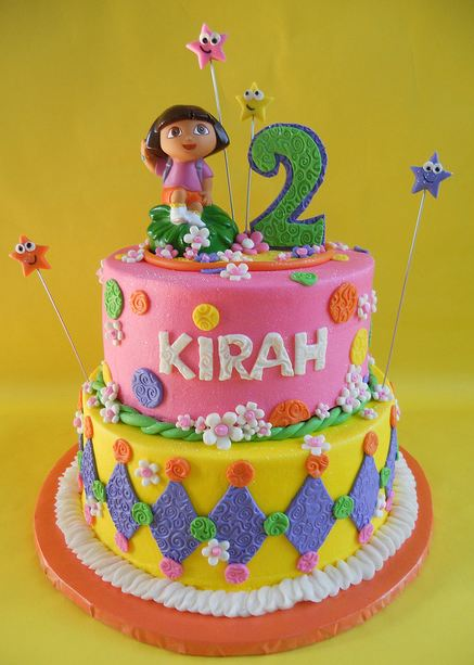 Dual Tier Dora The Explorer Birthday Cake Jpg 1 Comment
