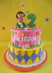 Dual tier Dora the Explorer birthday cake.JPG