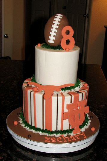 Two Tier University Of Texas Theme Cake With Football On