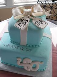 Two tier powder blue gift box cake with white bow.JPG