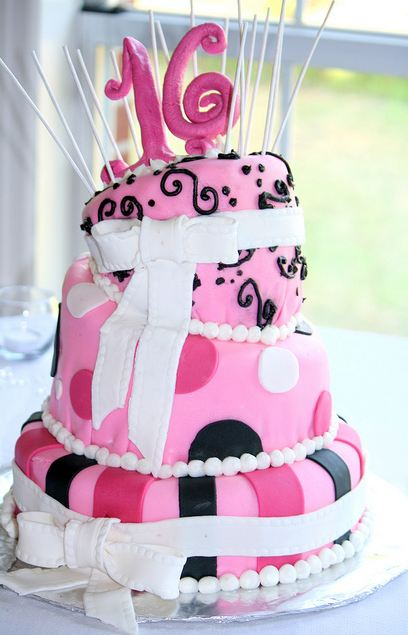 3 Tier Topsy Turvy Sweet 16 Pink Birthday Cake With White Bows