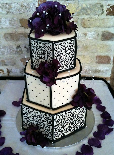 3 tier wedding cakes with purple flowers three tier hexagonal wedding cake in ivory and black with 10332