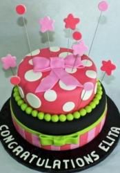 Two tier bridal shower cake with pink bow and dots and stars.JPG