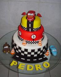 3 tier Cars theme birthday cake.JPG