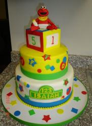 Baby Elmo theme 3 tier baby shower cake.JPG