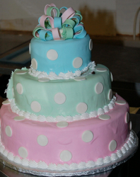 Polka dot Bat Mitzvah cake in three tiers with three different colors.PNG