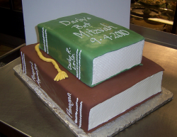 Unique Bat Mitzvah cake with book theme.PNG