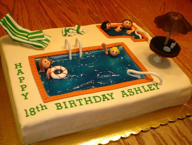 Swimming Pool Theme 18th Birthday Cake Jpg 3 Comments