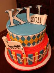 2 tier graduation cake for Kansas University.JPG