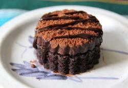 Small cake with dark chocolate and syrup on top.JPG