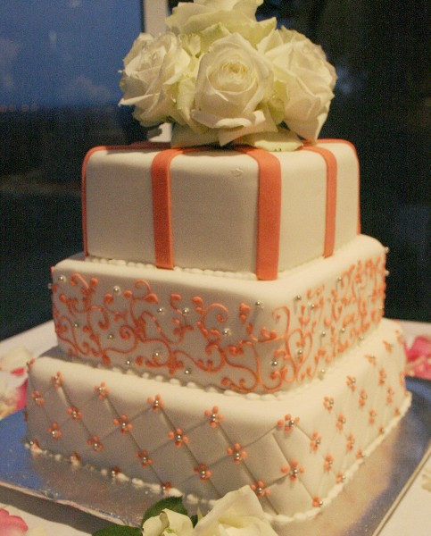 Coral Pink And White Roses Cake
