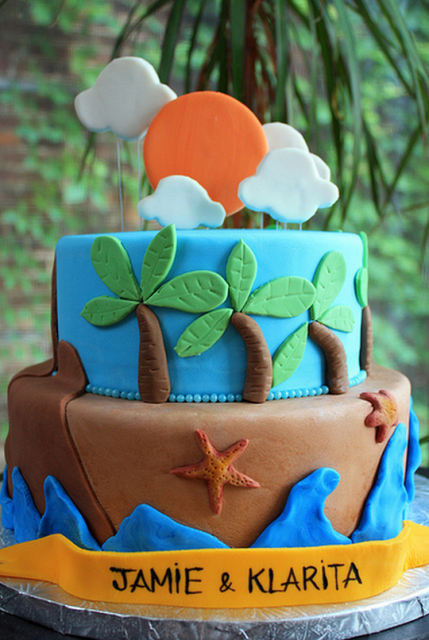 Beach theme engagement cake picture.PNG