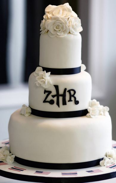 Three Tier Round White Wedding Cake With Black Bands And