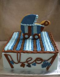 Baby carriage one tier baby shower cake with stripes.JPG
