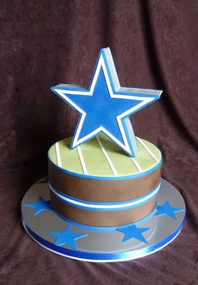 Dallas Cowboys cake with large blue star.JPG