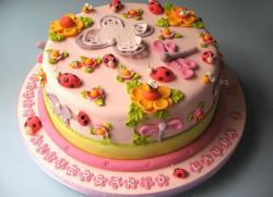 Pink round birthday cake with ladybugs and dragonflies and flowers.JPG