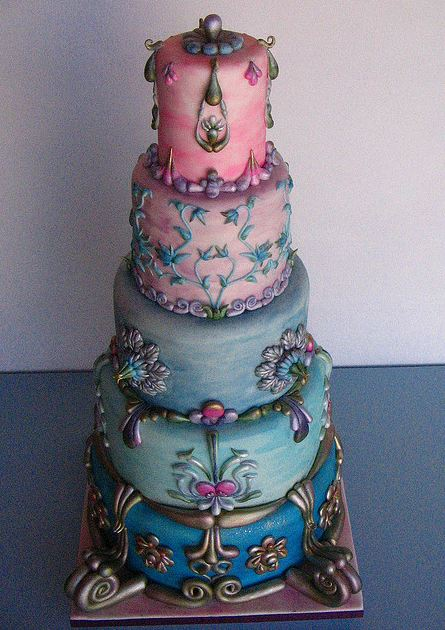 Round 5 Tier Antique Style Cake