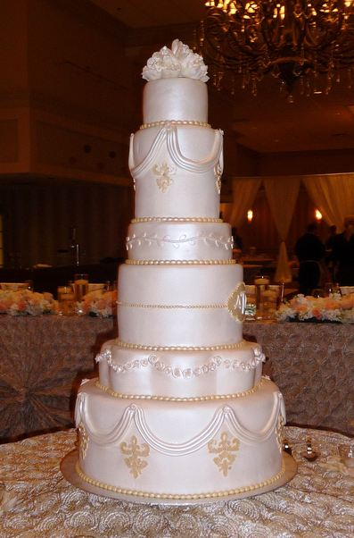 six tier wedding cakes six tier white wedding cake whith white drapes jpg 7530