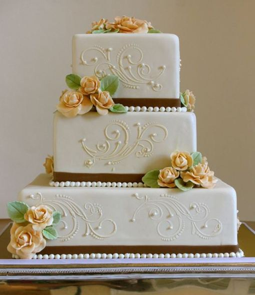 3 Tier White Square Wedding Cake With Pink Sugar Roses And White Pearls JPG