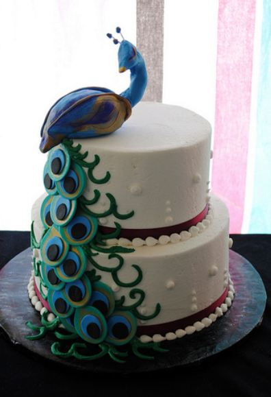 peacock birthday cake