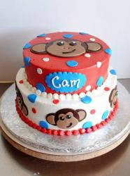 Red and white 2 tier monkey face cake.JPG