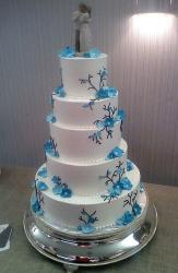 Five tier round white wedding cake with blue flowers and bride and groom toppers in embrace.JPG