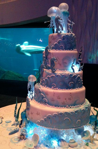 5 tier ocean and sealife theme wedding cake with jellyfish for Ocean themed wedding dress