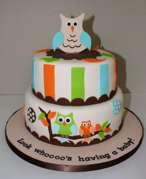 Two tier owl theme baby shower cake.JPG