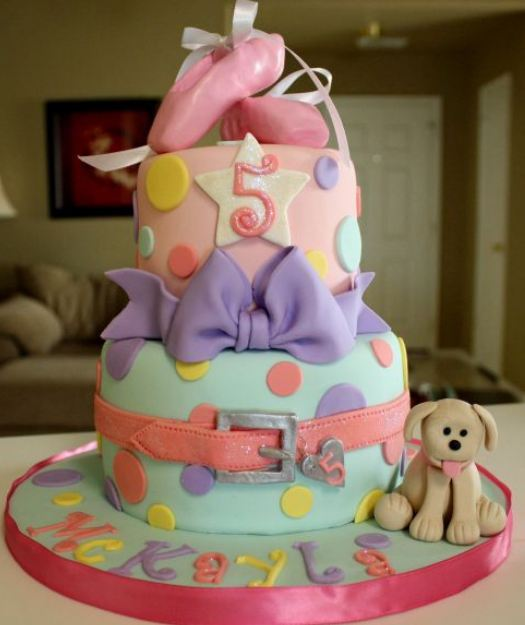 Two tier pink and baby blue birthday cake for 5 year old girl with ballerina shoes and puppy.JPG