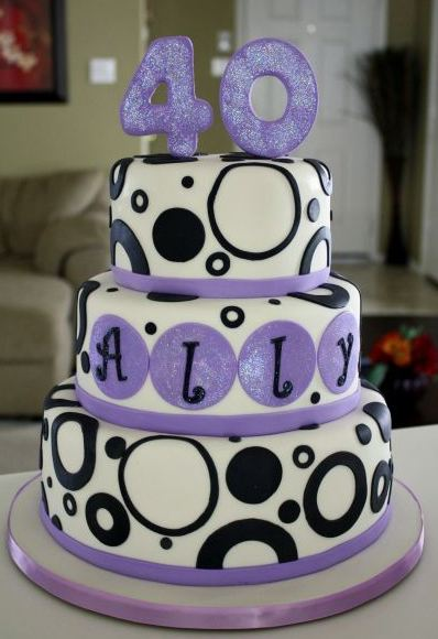 Three tier round white 40th birthday cake for a woman with the number 40 on top.JPG
