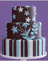 Three colored wedding cake with a trendy cake decor.PNG