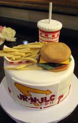 Fast food burgers and fries and drink groom's cake.JPG
