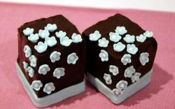 Cubic small chocolate cakes with mini flowers.JPG