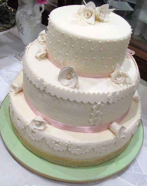Tier round white wedding cake with white flowers and pink ribbonsg three tier round white wedding cake with white flowers and pink ribbonsg mightylinksfo Image collections