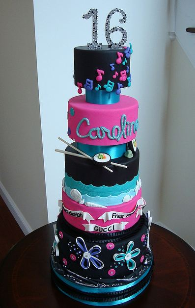 Five Tier Sweet 16 Birthday Cake For Girl Who Likes Sushi