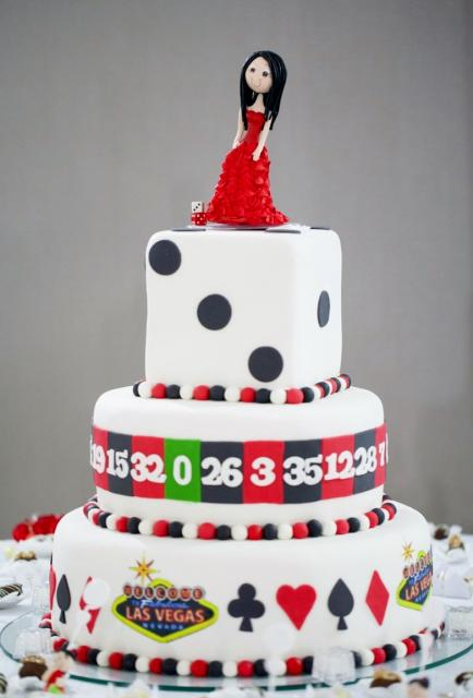 3 Tier Vegas Theme Cake With Person Look Alike Topper