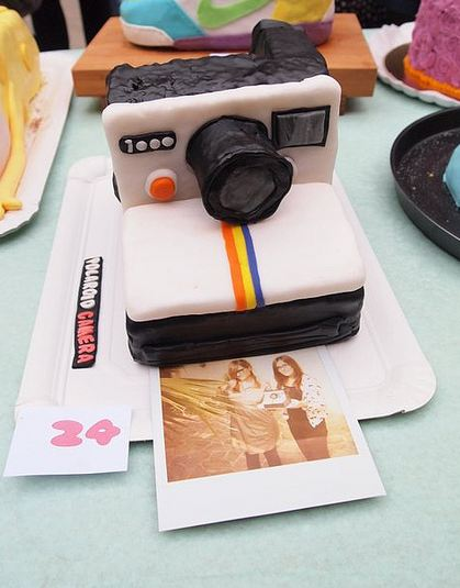 Polaroid camera cake with photo.JPG