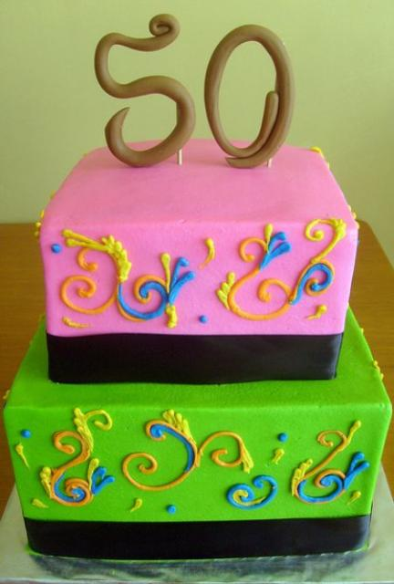 Two Tier Green And Pink 50th Birthday Cake Jpg