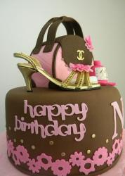 Handbag and shoe theme brown birthday cake.JPG