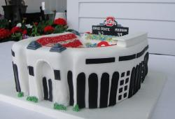Ohio State theme football stadium cake.JPG